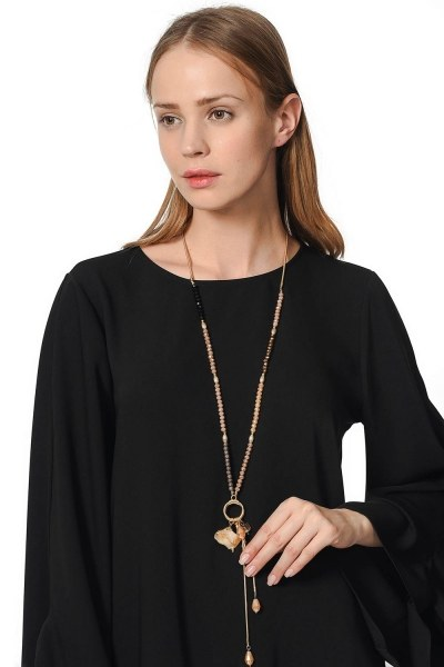 Necklace With Swinging Crystal Stone (Multi) - Thumbnail