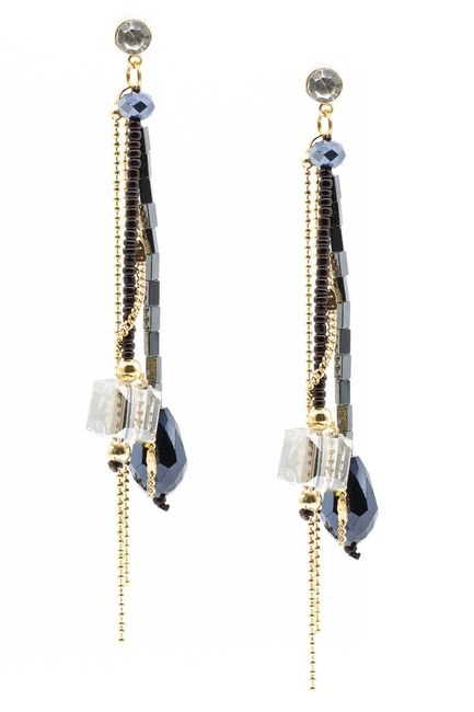 Swinging Earring With Crystal Stones (Dark Blue) - Thumbnail