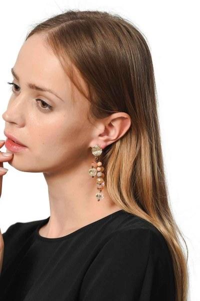 MIZALLE Swinging Earrings With Crystal Stones (Brown)
