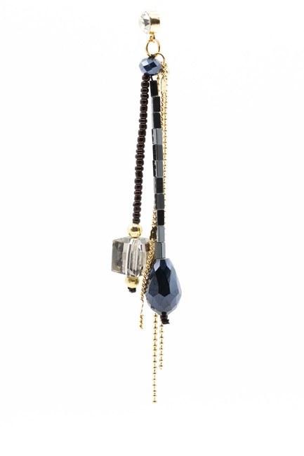 Kristal Taşlı Sallantılı Küpe (Lacivert) - Thumbnail