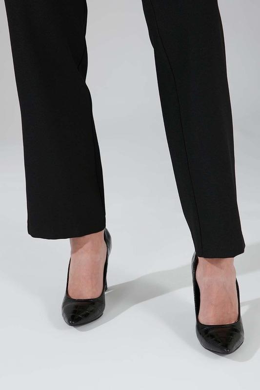 Kroko Tasarım Topuklu Ayakkabı (Siyah)