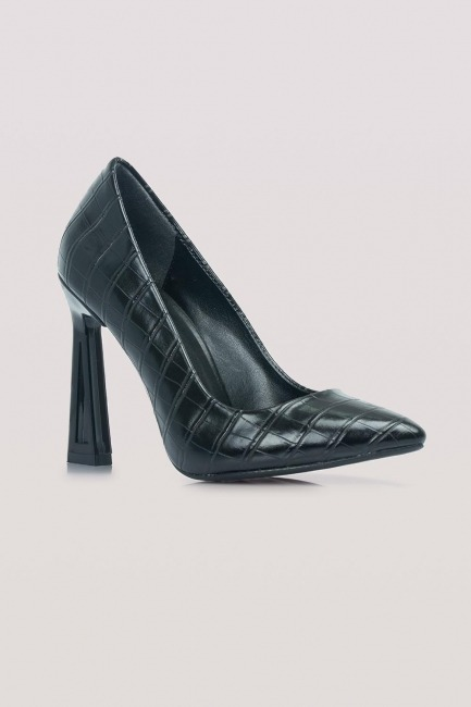 Kroko Tasarım Topuklu Ayakkabı (Siyah) - Thumbnail