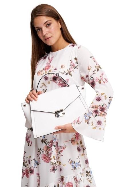 MIZALLE - حقيبة كتف جلد التمساح (أبيض) (1)