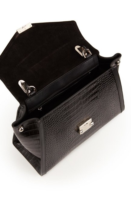 حقيبة كتف جلد التمساح (أسود التمساح) - Thumbnail