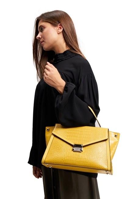 MIZALLE حقيبة كتف جلد تمساح (أصفر)