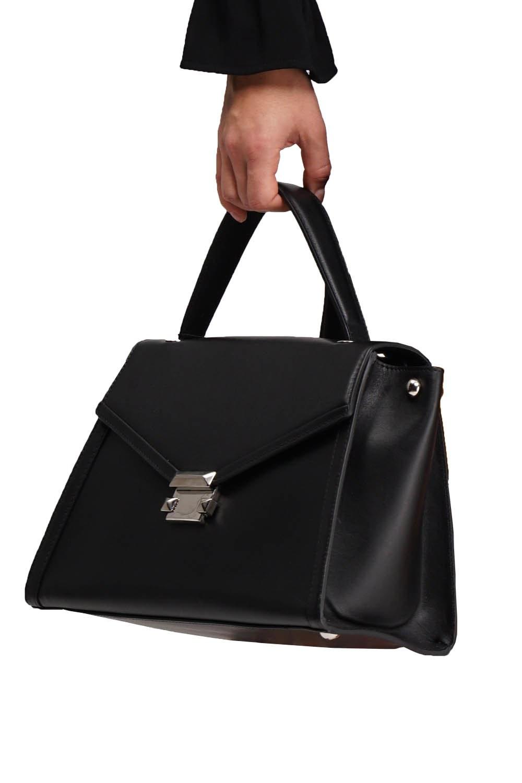 MIZALLE Crocodile Leather Shoulder Bag (Black) (1)