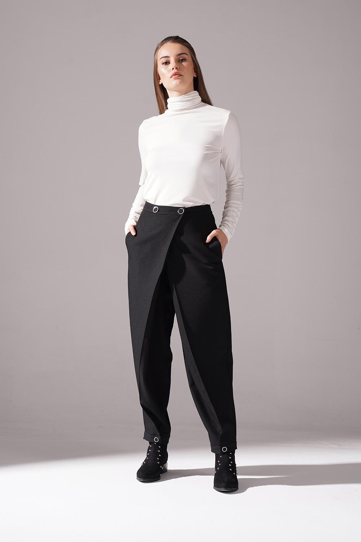 Kruvaze Krep Pantolon (Siyah)