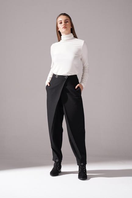 Mizalle - Kruvaze Krep Pantolon (Siyah)