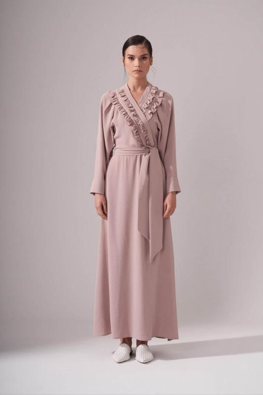 Kruvaze Önü Fırfırlı Elbise (Bej)