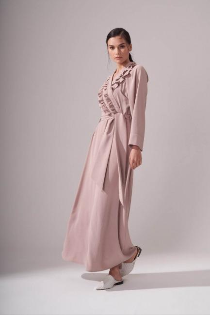 Kruvaze Önü Fırfırlı Elbise (Bej) - Thumbnail
