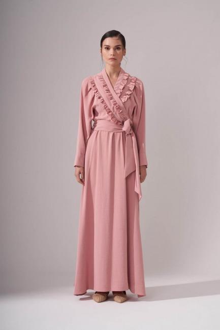 Mizalle - Kruvaze Önü Fırfırlı Elbise (Pudra)
