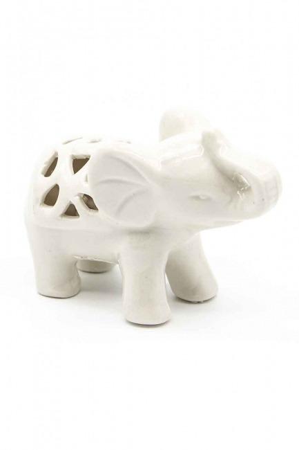 Küçük Boy Porselen Fil Biblo (Beyaz) - Thumbnail