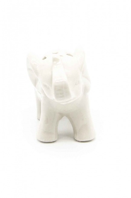 MIZALLE - Küçük Boy Porselen Fil Biblo (Beyaz) (1)