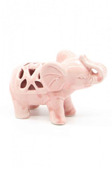 Küçük Boy Porselen Fil Biblo (Pembe) - Thumbnail
