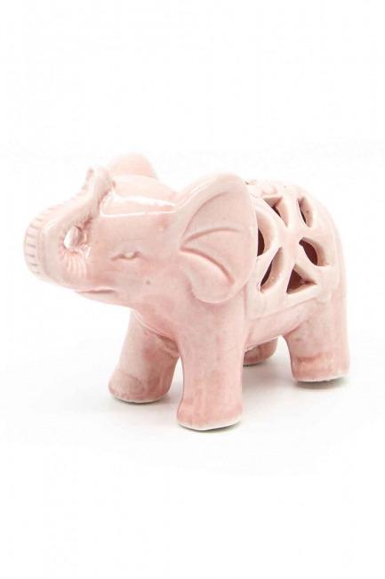 MIZALLE HOME - حجم صغير ، بورسلان الفيل حلية (الوردي) (1)