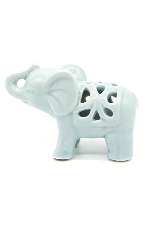 MIZALLE HOME Küçük Boy Porselen Fil Biblo (Yeşil) (1)