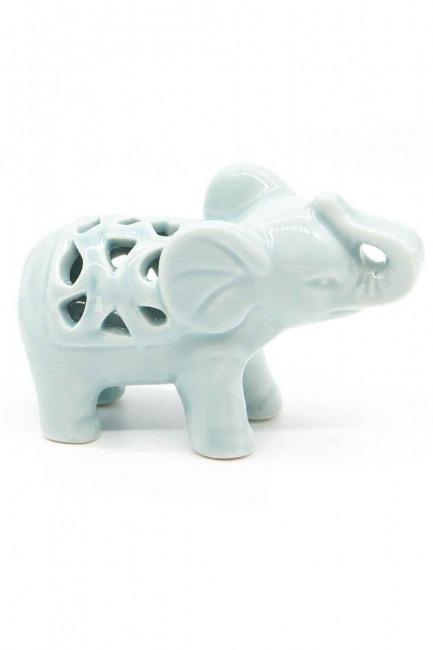 Small Size Porcelain Elephant Trinket (Green) - Thumbnail