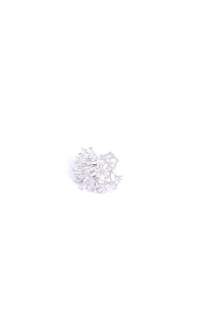 MIZALLE - Küçük Çiçek Buketi Broş (Gri) (1)