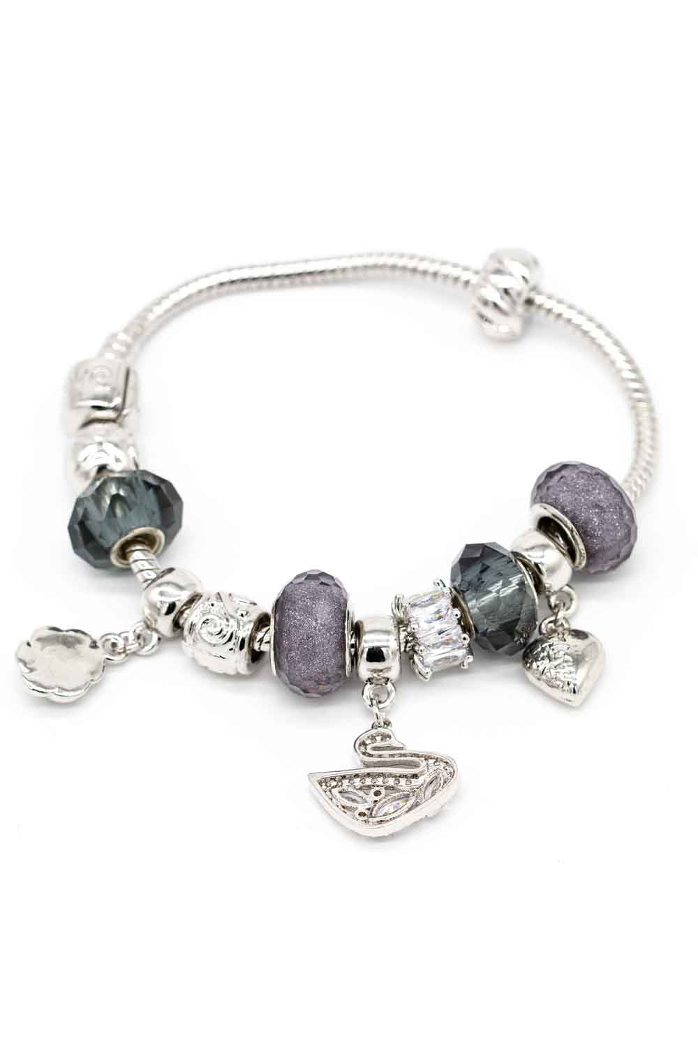 MIZALLE Swan Shaped Bracelet (Grey) (1)