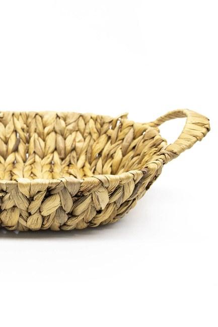 MIZALLE HOME - Kulplu Hasır Oval Sepet (Vizon) (1)
