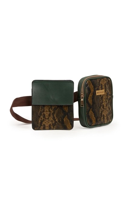 MIZALLE - Fabric Patterned Waist Bag (Khaki) (1)