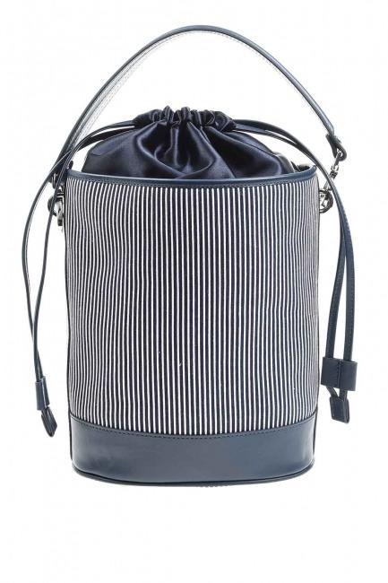 حقيبة كتف مزخرفة بالنسيج (كحلي) - Thumbnail