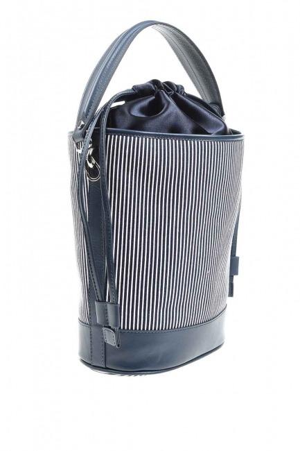 MIZALLE - Fabric Garnished Shoulder Bag (Navy Blue) (1)