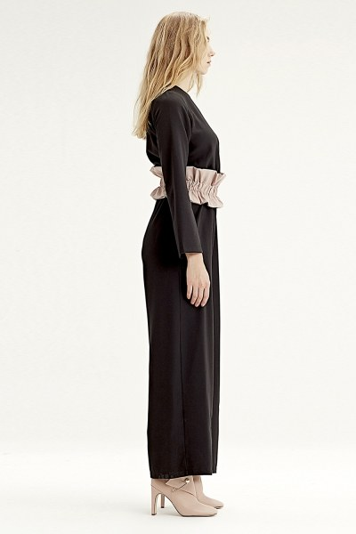 Fabric-Belt Detailed Jumpsuit (Black) - Thumbnail