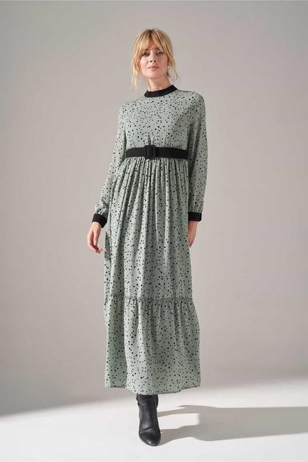 Mizalle - Kumaş Kemerli Desenli Elbise (Mint)