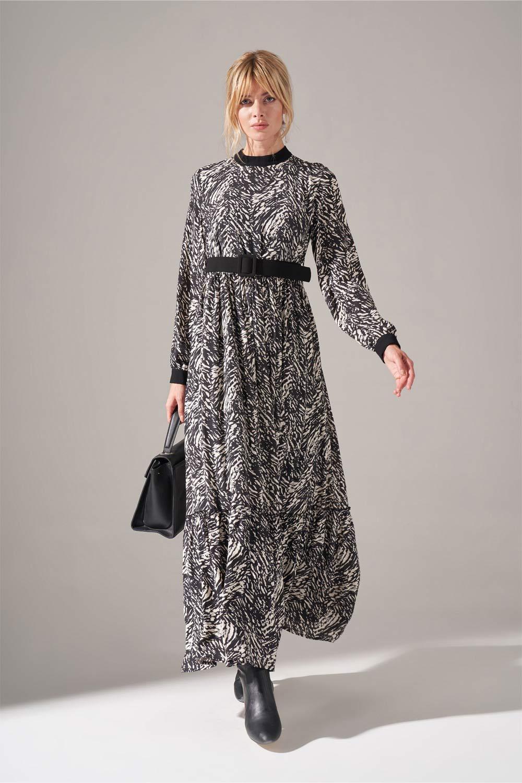 Kumaş Kemerli Desenli Elbise (Siyah)