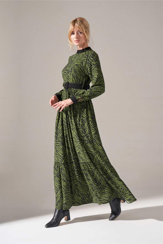 Kumaş Kemerli Desenli Elbise (Yeşil)