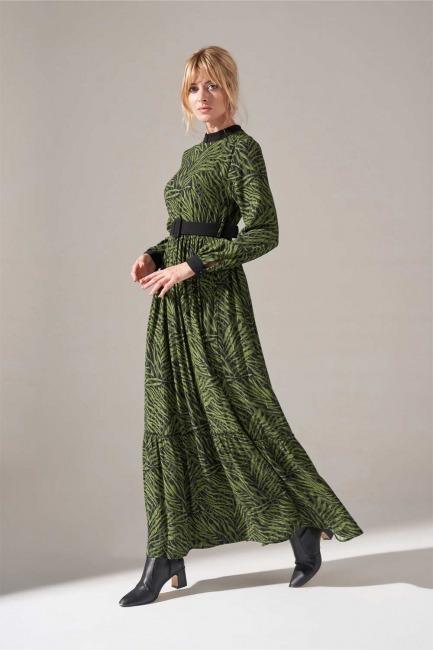 Mizalle - Kumaş Kemerli Desenli Elbise (Yeşil)