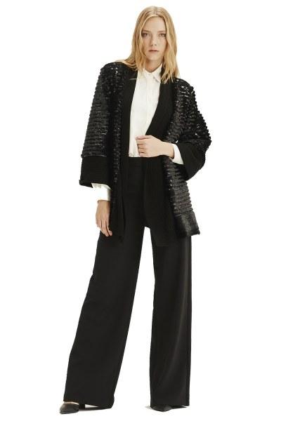MIZALLE - Fur Sequin Cardigan (Black) (1)