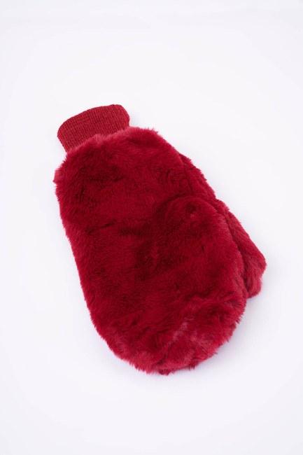 MIZALLE - Knitted Fur Gloves (Claret Red) (1)