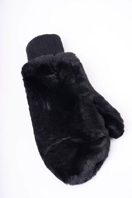 MIZALLE - Knitted Fur Gloves (Black) (1)