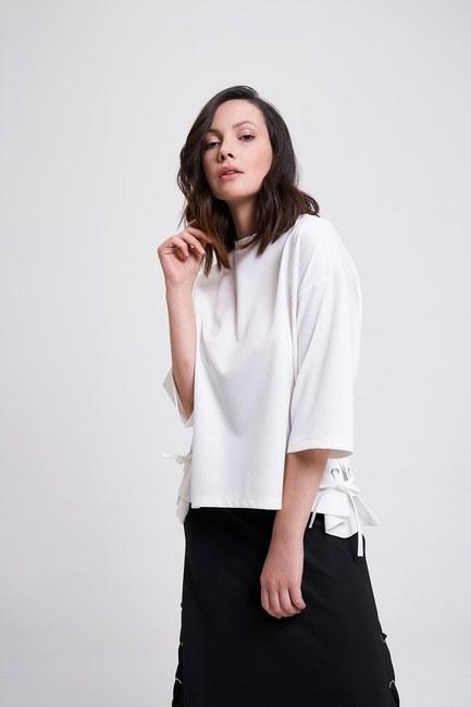 MIZALLE - Kuş Gözlü T-Shirt (Ekru) (1)