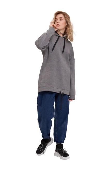 MIZALLE YOUTH Kuş Gözü Bağıcıklı Sweatshirt (Melanj)