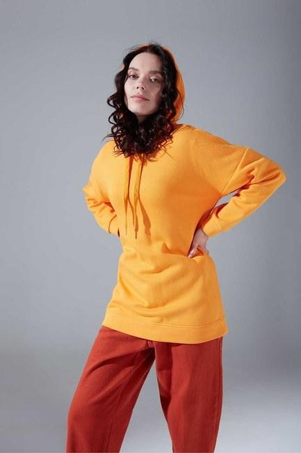 Mizalle - Kuş Gözü Bağcıklı Safran Sweatshirt