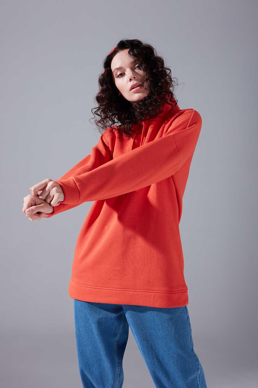 Kuş Gözü Bağcıklı Turuncu Sweatshirt