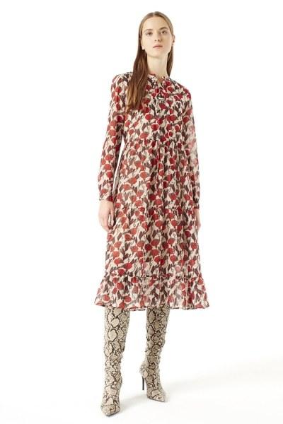 MIZALLE فستان منقوش ( بيج )