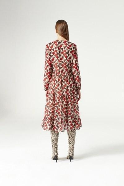 MIZALLE - Kuş Gözü Detaylı Elbise (Bej) (1)