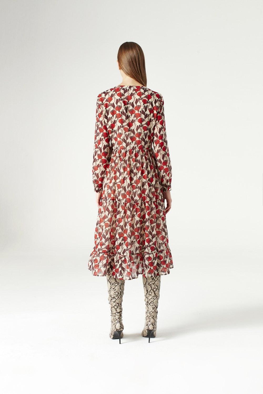 MIZALLE Kuş Gözü Detaylı Elbise (Bej) (1)