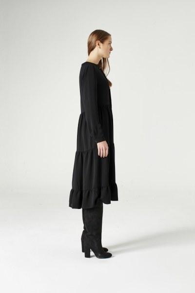Kuş Gözü Detaylı Elbise (Siyah) - Thumbnail