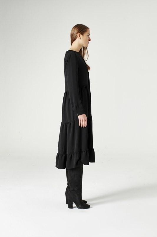 Kuş Gözü Detaylı Elbise (Siyah)