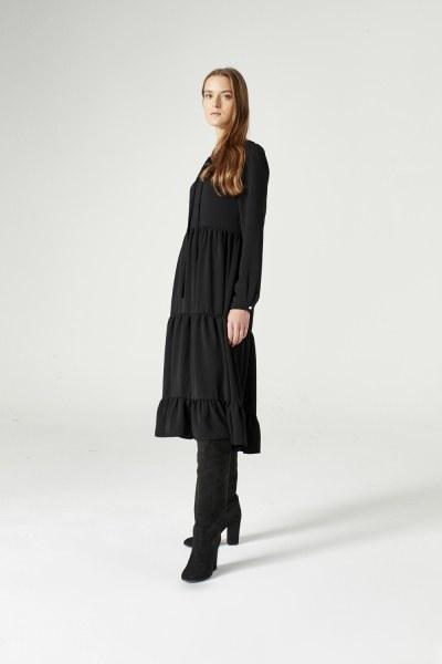 Mizalle - Kuş Gözü Detaylı Elbise (Siyah)