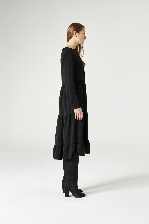 MIZALLE فستان منقوش ( أسود ) (1)