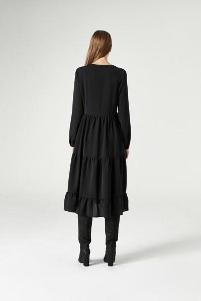 فستان منقوش ( أسود ) - Thumbnail