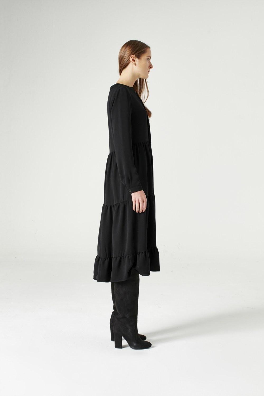 MIZALLE Kuş Gözü Detaylı Elbise (Siyah) (1)
