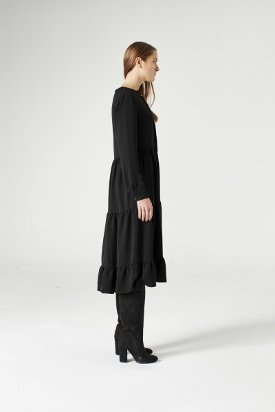 MIZALLE - Kuş Gözü Detaylı Elbise (Siyah) (1)