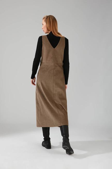 Kuş Gözü Detaylı Kadife Jile Elbise (Vizon) - Thumbnail